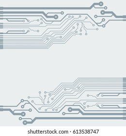 Vector flat circuit board illustration. Vector microchip background