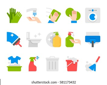 vector flat cleaning set icons. icons set of cleaning tools. flat design style.