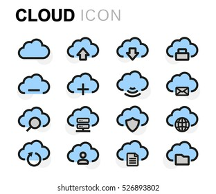 Vector flat cloud icons set on white background