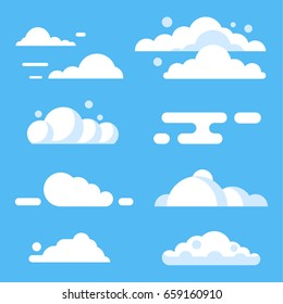 Vector flat cloud set. Blue sky with white clouds. Vector stock illustration.