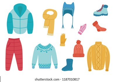 Vector flat cold weather - winter or autumn warm clothing set. Male, female active leisure, outdoor sport activity apparel. Hat, jacket trousers boots, socks sweater or pullover and mittens