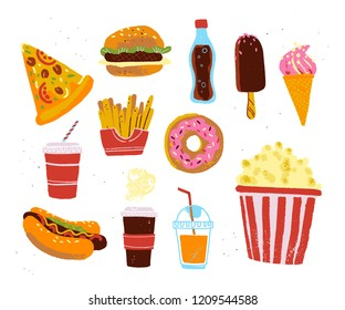 Vector flat collection of fast food meal objects - pizza, burger, donut, coffee, popcorn, fries isolated on white textured background. Hand drawn sketch style. Good for menu design, chalkboard drawing