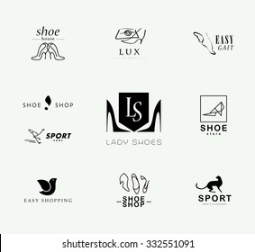 Vector flat collection of stylish modern shoe logo for women, men and kids. Footwear brand insignia isolated. Shoe icons set. Shoe store insignia. Footwear brand mark collection isolated.