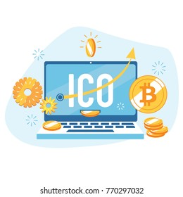 Vector flat color illustration of ICO cryptocurrency startup. Online crypto token sale illustration for landing page or blog about bitcoin and blockchain technology