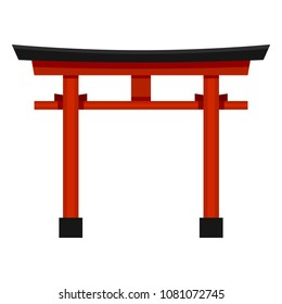 Vector Flat Color Shinto Icon - Japanese Red Torii Gate