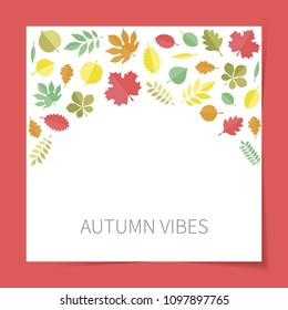 Vector flat colored autumn tree leaves icons (elm, beech, ash, linden, birch, alder, aspen, willow, maple, poplar, rowan, hawthorn, walnut, apple, oak, acacia, chestnut, conker)  on white background