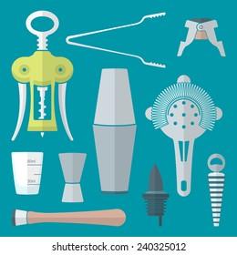vector flat colored design barman equipment set tools pour spout, winged corkscrew, champagne plug, measuring glass, muddler, shaker, jigger, strainer