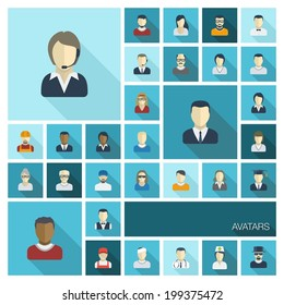 Vector flat colored icons set with long shadows. Illustration of people avatars for web, social, management, business, internet, mobile apps, interface design: man,woman, worker, doctor, worker, nurse