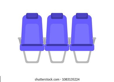 Vector flat colorful illustration of blue seat. Cartoon interior airplane seats. Chairs in cabin of Business class. Armchairs with handrails in the bus for passengers.