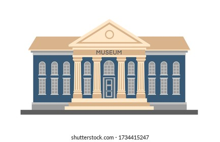 Vector flat colorful illustration exterior of museum building with title and columns isolated on white background. City architecture public government building. Art museum of modern painting