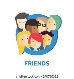 Vector flat colorful illustration with modern people  in social network