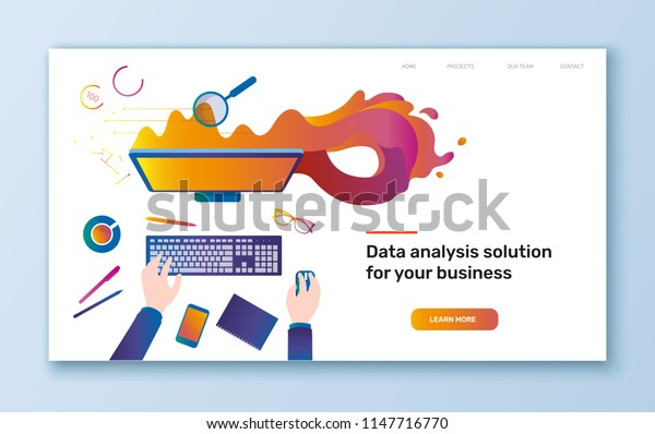 Vector flat colorful illustration of workplace with desktop and man doing data analysis or statistics  - banner, presentation or landing page template