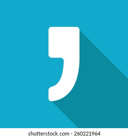 Vector flat comma icon isolated on blue. Eps10