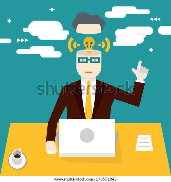 Vector flat concept of business idea. Motivation and inspiration - vector illustration