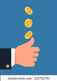 Vector flat concept image on decision making by chance with coin. Two alternatives choosing process with heads or tails coin tossing and flipping featuring abstract businessman's hand and golden coin