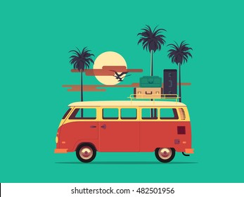 Vector flat concept on the theme of summer vacation on beach featuring retro travel van with birds palm silhouette and clouds