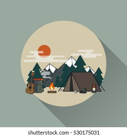 Vector flat concept on the theme of camping and hiking with place for text. Outdoor activity.