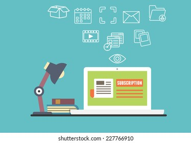 Vector flat concept of personal electronic subscription with different capabilities - vector illustration