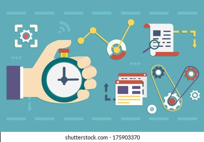Vector flat concept of process social media business and marketing. Startup, business planning and results - vector illustration