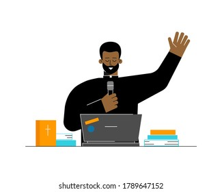 Vector flat concept. Protestant priest is african american man. Pastor preaches and speaks with believers by online conference on laptop. Streaming services, apps and broadcasts as lifestyle of church