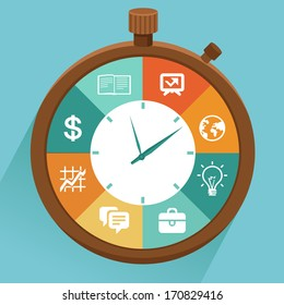 Vector flat concept - time management. Modern illustration with stopwatch and icons - how to control your life