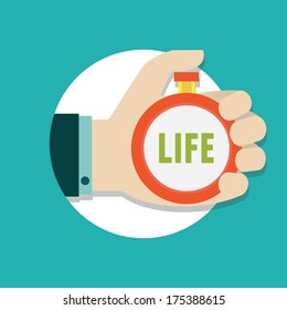 Vector flat concept of time management. Manage life - vector illustration