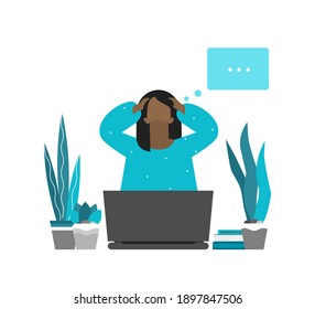 Vector flat concept. Tired African American freelancer is on remote work. Woman has difficulties to keep mental health. Depressed mood and professional burnout. She is thinking and analyzing ideas