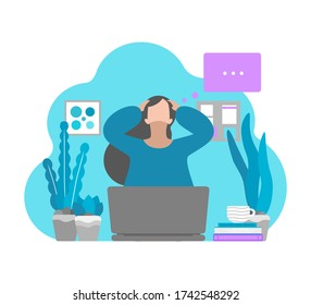 Vector flat concept. Tired freelancer is on remote work and has difficulties to keep mental health. Depressed mood and professional burnout, big emotional stress and anxiety in isolation at home