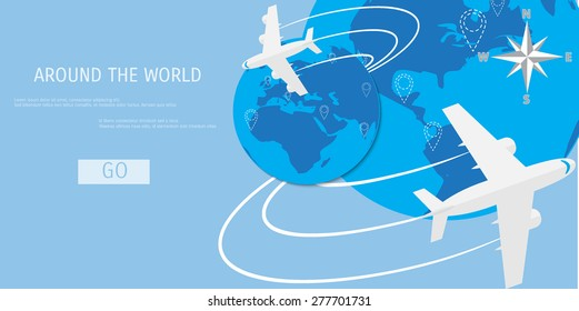 Vector flat concept of World travel and tourism. Holidays and vacation. Concepts for web banners and promotional materials.