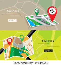 Vector flat concept of World travel and tourism. Navigation. Location search. Concepts for web banners and promotional materials.