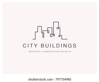 Vector flat construction company brand design template. Building, business company and architect bureau insignia, logo illustration isolated on white background. Line art.