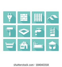 vector flat construction icons set