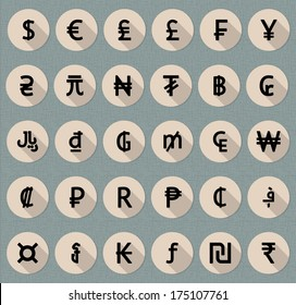 Vector flat  currency symbol  set (world money icons)