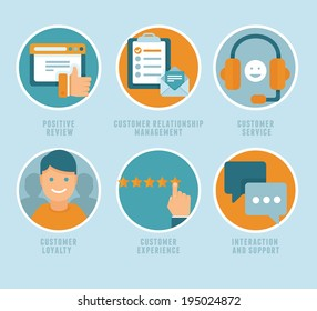 Vector flat customer experience concepts - icons and infographic design elements - positive review, customer service and support