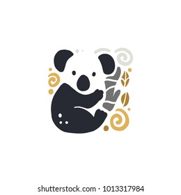 Vector flat cute funny hand drawn koala animal silhouette isolated on white background. Perfect for children goods store logo insignia, kid clothes and accessory prints, zoo logotype etc.