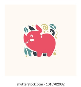 Vector flat cute funny hand drawn smiling pink pig animal silhouette isolated on white background.  Perfect for children goods store logo insignia, kid clothes and accessory prints, zoo logotype etc.