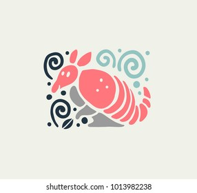 Vector flat cute funny hand drawn armadillo animal silhouette isolated on white background. Perfect for children goods store logo insignia, kid clothes and accessory prints, zoo logotype etc.