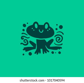 Vector flat cute funny hand drawn frog animal silhouette smiling isolated on green background. Perfect for children goods store logo insignia, kid clothes and accessory prints, zoo logotype etc.