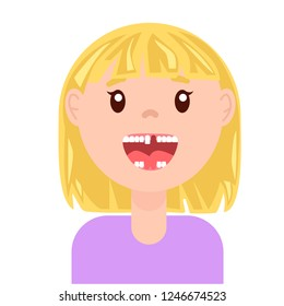 vector flat cute toothless girl. isolated illustration