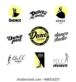 Vector flat dance studio logo. Dancing people icon. Human portrait. Stamp. Human figure. Dancing lady. Ballet, pole dance. Ball room dancing school insignia. Modern street dance.