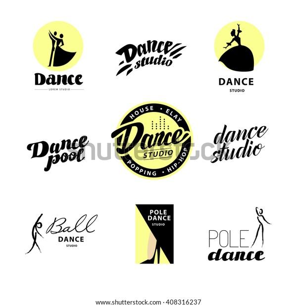 Vector Flat Dance Studio Logo Dancing Stock Vector (Royalty Free
