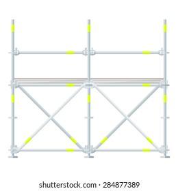 vector flat design aluminum prefabricated scaffolding isolated illustration white background