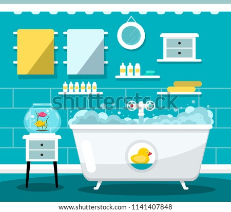 Vector Flat Design Bathroom with Bathtub