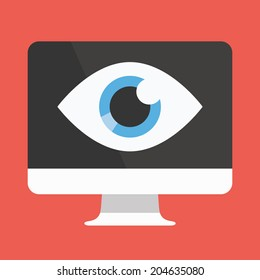 Vector Flat Design Big Brother Concept Icon