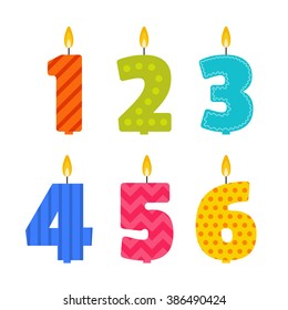 Vector Flat Design Birthday Candle Set In The Shape Of Numbers 1 2 3