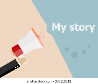 vector flat design business illustration concept. My Story. Digital marketing business man holding megaphone for website and promotion banners.