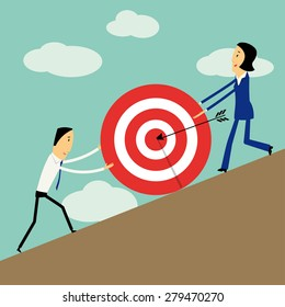 Vector flat design businessman and businesswoman pushing a big target to the top. Teamwork concept.