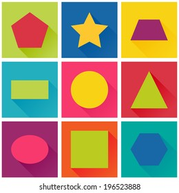 Vector flat design, concept for children's apps, set of geometric shapes: sguare, circle, oval, triangle, pentagon, hexagon, rectangle, star, trapezoid.