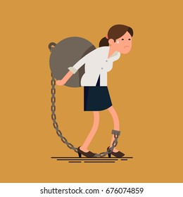 Vector flat design concept on businesswoman carrying weight. Debt metaphoric illustration with woman character tied by chain to large weight on her back. Businesswoman struggles with mortgage