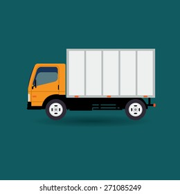 Vector flat design creative transportation icon featuring small size moving truck  Logistics and delivery vehicle trendy style icon